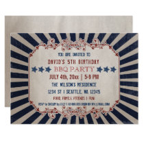 Vintage Memorial Day Birthday Party Invitations