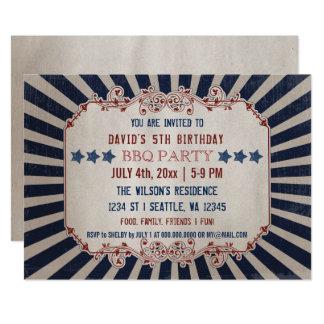 Vintage Memorial Day Birthday Party Invitations