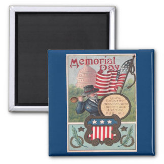 Vintage Memorial Day - One Country 2 Inch Square Magnet