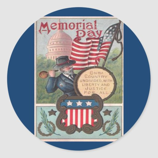 Vintage Memorial Day - One Country Classic Round Sticker