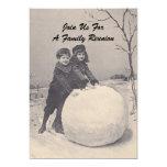 "Vintage Memories Family Reunion Snowman Invitation 5"" X 7"" Invitation Card"