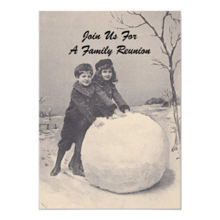 Vintage Memories Family Reunion Snowman Invitation at Zazzle