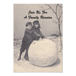 Vintage Memories Family Reunion Snowman Invitation at Zazzle