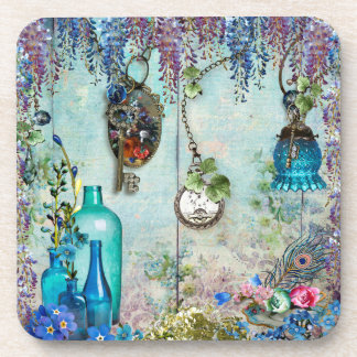 Vintage Memories Wisteria lavender cobalt blue key Drink Coaster