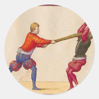 Vintage Men Fighting Classic Round Sticker