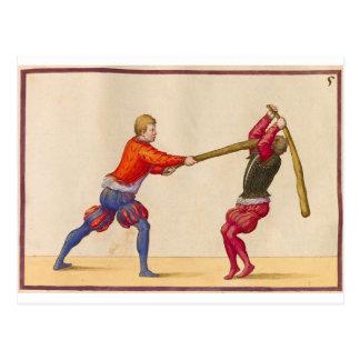 Vintage Men Fighting Postcard