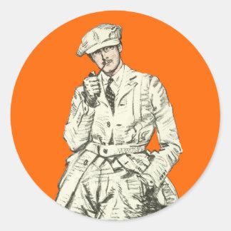 Vintage Men's Fashion Orange Pipe Smoke Clothing Classic Round Sticker