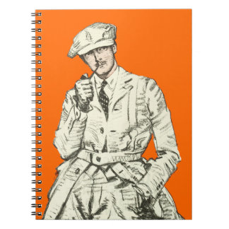 Vintage Men's Fashion Orange Pipe Smoke Clothing Note Books