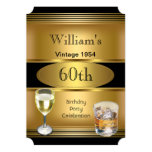 Vintage Mens 60th Birthday Party Gold Drinks Card