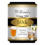 Vintage Mens 60th Birthday Party Gold Silver Beer 5x7 Paper Invitation Card