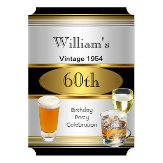 Vintage Mens 60th Birthday Party Gold Silver Beer Invitations