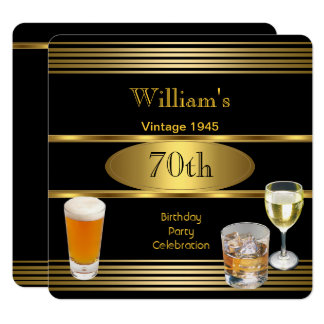 Vintage Mens 70th Birthday Party Gold Beer 1945 Card