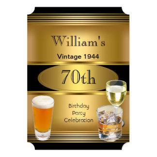 Vintage Mens 70th Birthday Party Gold Beer 5x7 Paper Invitation Card