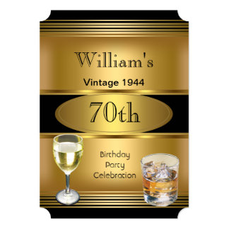Vintage Mens 70th Birthday Party Gold Drinks 5x7 Paper Invitation Card