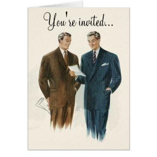 Vintage men's fashion invitation or greeting card