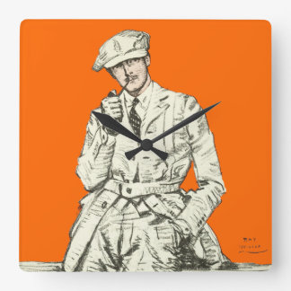 Vintage Men's Fashion Orange Pipe Smoke Clothing Square Wall Clock
