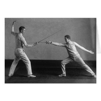 Vintage Men's Foil Fencing Note Card