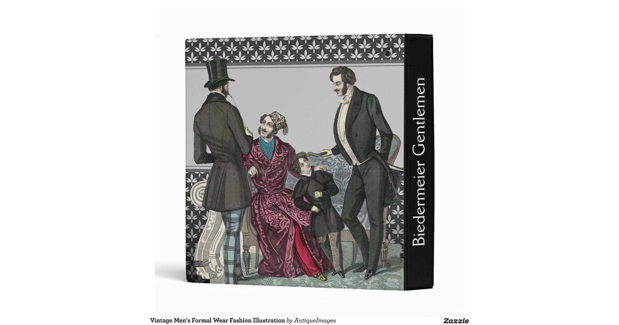 vintage mens formal wear fashion illustration 3 ring
