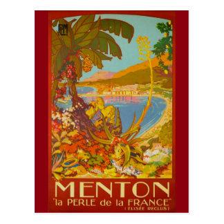 Vintage Menton Cote d'Azur Francia Tarjeta Postal