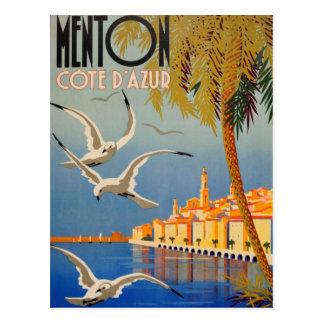 Vintage Menton Cote d'Azur Tarjeta Postal