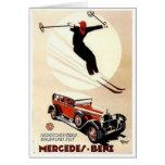 Vintage Mercedes Benz Ski Ad Greeting Cards