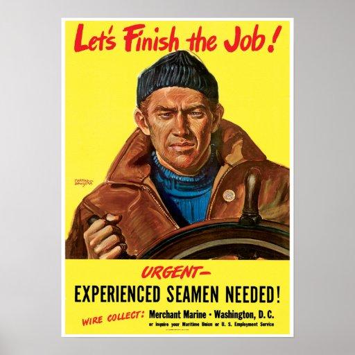 Vintage Merchant Marine World War 2 Poster