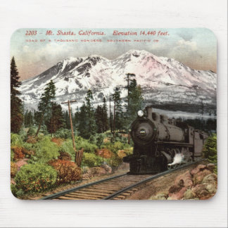 Vintage meridional 1912 del Pacífico Mt. Shasta Mouse Pad