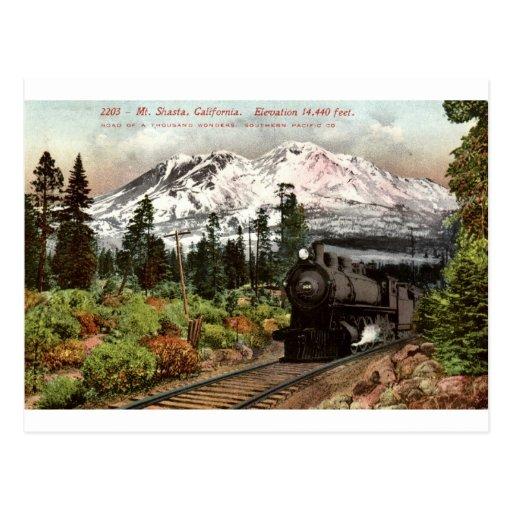 Vintage meridional 1912 del Pacífico Mt. Shasta Tarjetas Postales