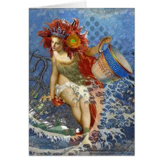 Vintage Mermaid Aquarius Gothic Whimsical Woman Card