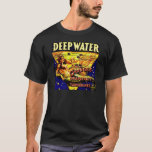 Vintage Mermaid Deep Water Ocean Fishing Label T-Shirt