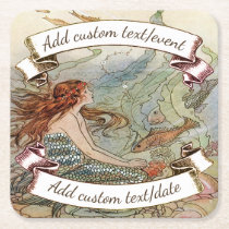 Vintage Mermaid Dover Under The Sea Custom Party Square Paper Coaster