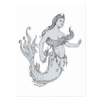Vintage Mermaid Holding Flower Drawing Postcard