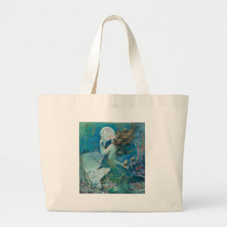 Vintage Mermaid Holding Pearl Jumbo Tote Bag