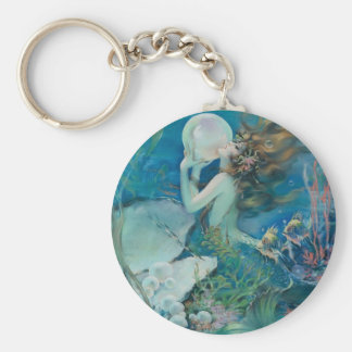 Vintage Mermaid Holding Pearl Basic Round Button Keychain