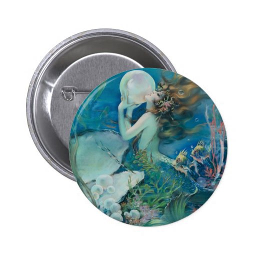 Vintage Mermaid Holding Pearl Buttons