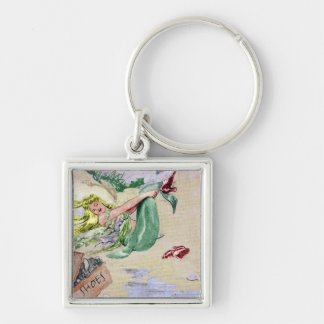 Vintage Mermaid in Color Silver-Colored Square Keychain