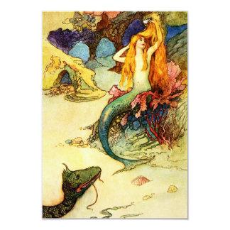 """Vintage Mermaid Invitations 3.5"""" X 5"""" Invitation Card"""