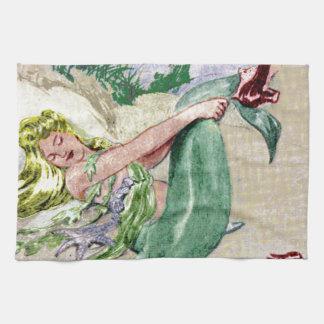 Vintage Mermaid Kitchen Towel