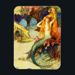 """Vintage Mermaid Magnet<br><div class=""""desc"""">Vintage Mermaid magnet. Fantasy Illustration 1910s. Warwick Goble was a world famous fantasy illustrator during the first half of the twentieth century. Though he is best known for his beautiful fairy paintings, Goble also created some gorgeous depictions of mermaids. This illustration features a pretty young mermaid comping her red hair...</div>"""