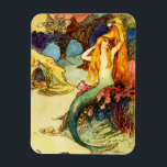 "Vintage Mermaid Magnet<br><div class=""desc"">Vintage Mermaid magnet. Fantasy Illustration 1910s. Warwick Goble was a world famous fantasy illustrator during the first half of the twentieth century. Though he is best known for his beautiful fairy paintings, Goble also created some gorgeous depictions of mermaids. This illustration features a pretty young mermaid comping her red hair...</div>"
