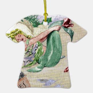 Vintage Mermaid Merchandise Double-Sided T-Shirt Ceramic Christmas Ornament