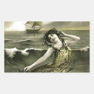 Vintage mermaid picture rectangular sticker
