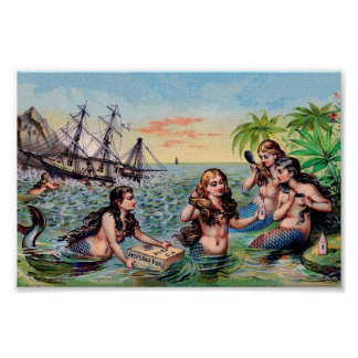 Vintage Mermaid Poster
