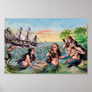 Vintage Mermaid Poster