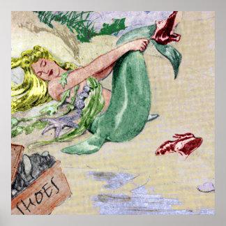 Vintage Mermaid Poster Wall Art
