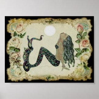 Vintage mermaid print
