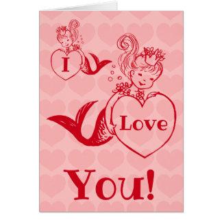 Vintage mermaid Valentines day Card