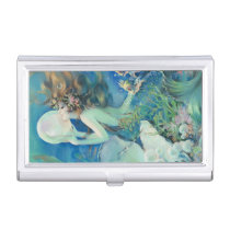 Vintage Mermaid w Pearl Nautical Ocean Nautical Business Card Holder