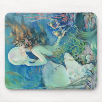 Vintage Mermaid w Pearl Nautical Ocean Nautical Mouse Pad