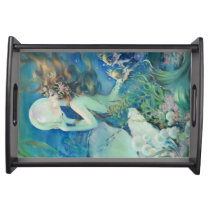Vintage Mermaid w Pearl Nautical Ocean Nautical Serving Tray
